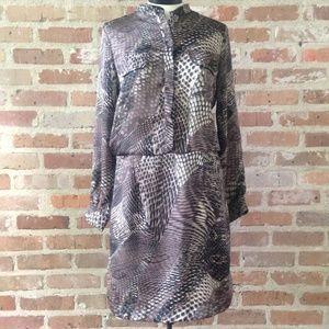 Gray Snake Print Long Sleeve Midi Shirt Dress
